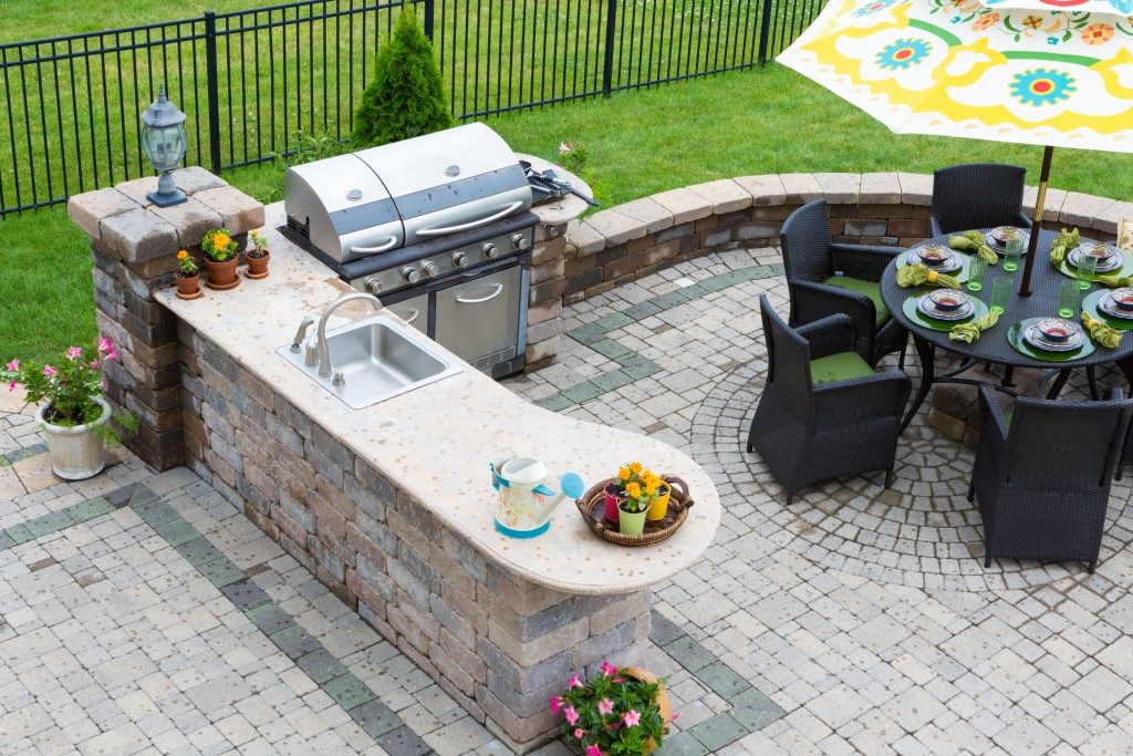 High angle view of a stylish outdoor kitchen