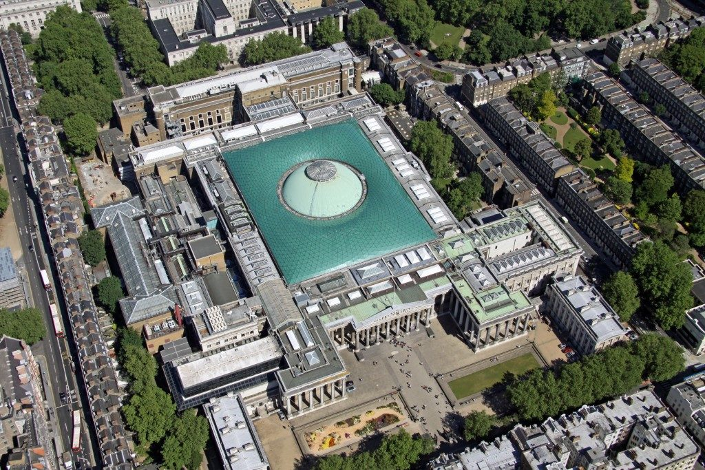 Aerial view of The British Museum in London, UK