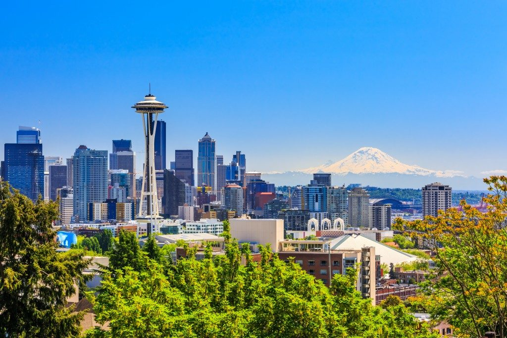Seattle downtown skyline and Mt. Rainier, Washington