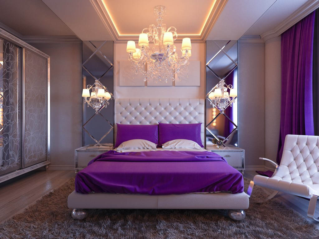 purple bed and curtain