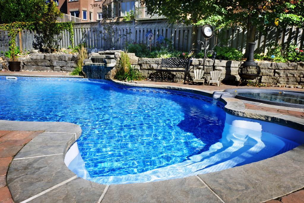 swimming pool in the backyard