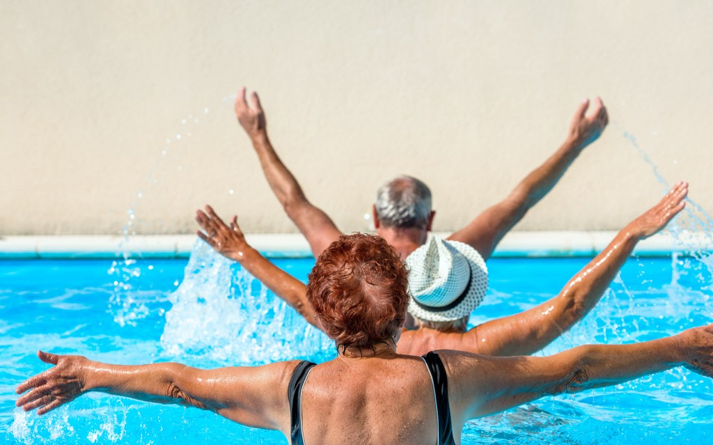 old people swimming