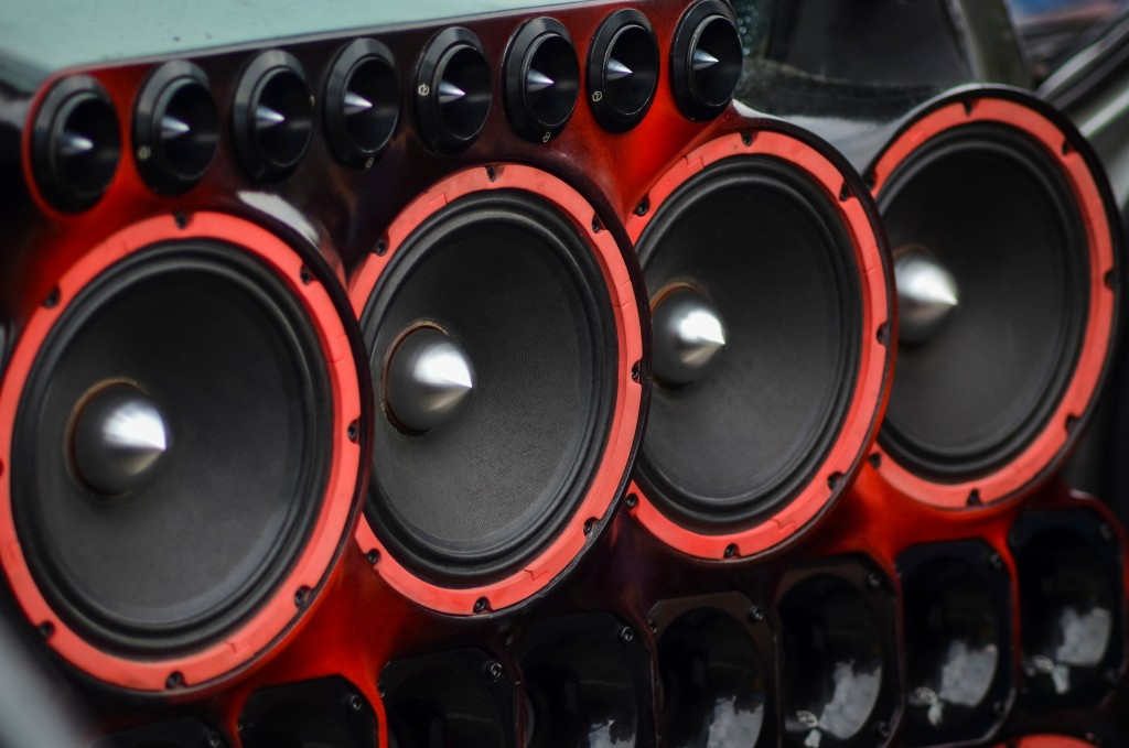 red and black speakers