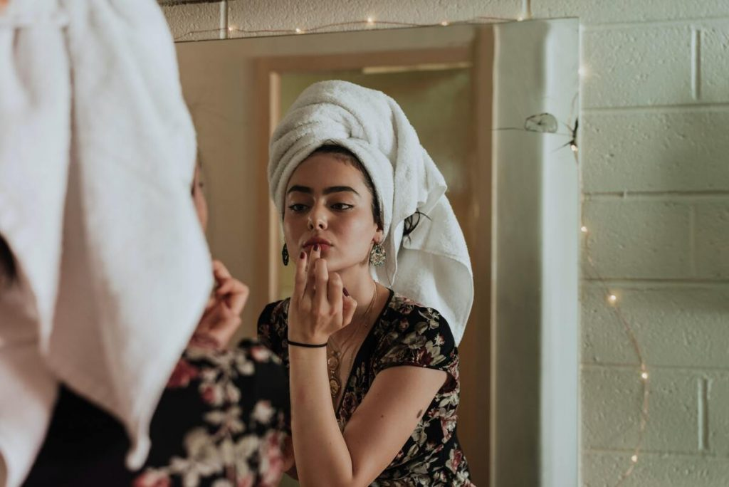 woman doing skin care routine