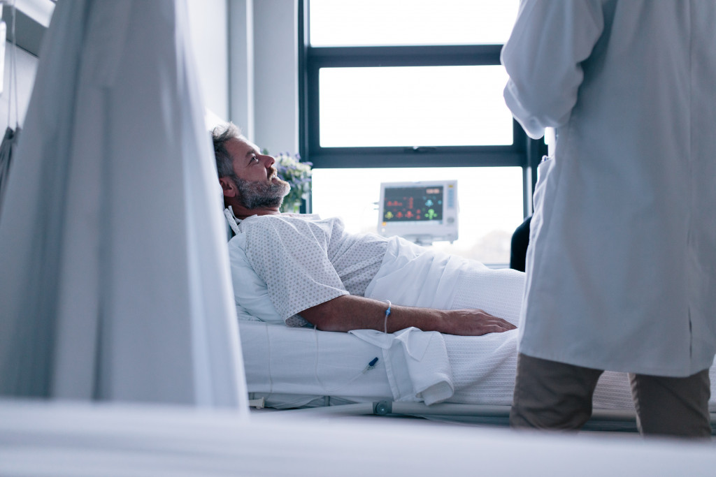 patient on a hospital bed