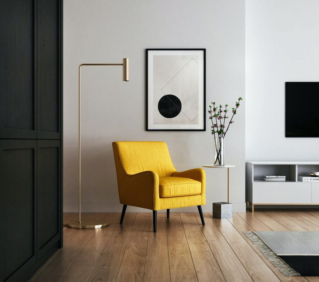 living room with contemporary pieces of furniture