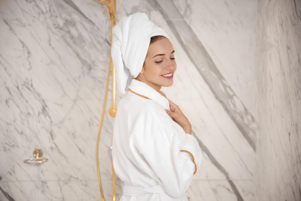 in a bathrobe