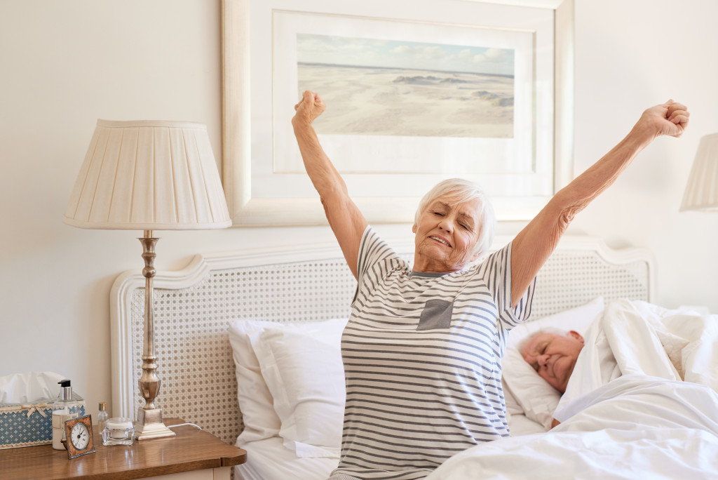 elderly woman waking up